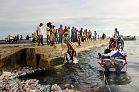 Fishermen landing their catch, taking it to the quay walls, floating plastic debris at front, Kota Biak, Biak Island, Irian Jaya, Indonesia, Southeast...