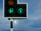 Rouble Up.A green traffic light displaying the Russian Rouble currency symbol and an upward pointing arrow