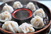 A plate of steamed dumplings in Xian, China