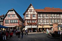 Half_timbered houses, main street, Miltenberg, Lower Franconia, Franconia, Germany, Europe