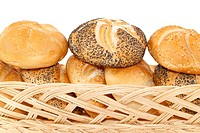 crunchy fresh bun in basket on white background