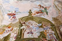 Ceiling fresco, Monastery Church of St. Margaret, Baumburg Abbey, Altenmarkt, Chiemgau, Upper Bavaria, Bavaria, Germany, Europe