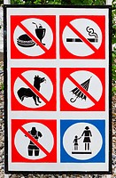 Prohibited sign with different symbols