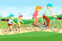 A vector illustration of a family biking together in a rural area