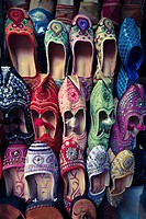 Slippers in Marrakesh Market.Morocco, Marrakech, Medina Old Town, slippers stall