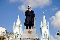 Statue of Jose Rizal in front of the Immaculate Conception Cathedral, Puerto Princesa, the island's capital, Palawan Island, Philippines, Asia
