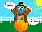Thanksgiving Turkey and Pumpkin Cartoon EPS 10 gradients and transparencies