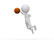 3D playing basketball making a dunk