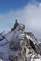 Wendelsteinkircherl, Wendelstein church, rack railway, Mt Wendelstein, Mangfall mountains, Upper Bavaria, Bavaria, Germany, Europe