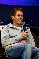 Milton Keynes, England, Sebastian Vettel GER, Red Bull Racing _ Double World Champion press conference at Red Bull Racing HQ