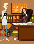 A man and woman working in an office. This illustration contains gradient meshes that may not be compatible with some programs.
