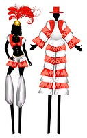 Vector Illustration of two Moko Jumbies also known as stiltwalkers.