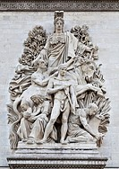 Sculptural detail of the Arc de Triomphe Arch of Triumph in Paris, France