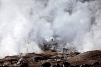 Sol de Manana geothermal field, Manana in Andina Eduardo Abaro National Park, Altiplano, Potosi, southern Bolivia, South America