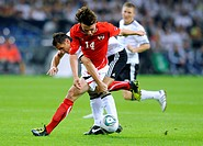 Miroslav Klose, Germany, Julian Baumgartlinger, Austria, during football qualifying match for the UEFA European Cup 2012, Deutschland 6-2 Austria, Vel...