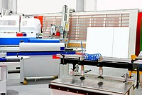 Several wood work production machines in factory