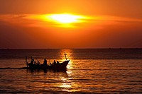 Boat at sunset on the sea, Phu Quoc, Vietnam, Southeast Asia, Asia