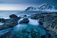 Evening mood at Skagsanden, beach near Flakstad, Flakstadsøya, Lofoten Islands, Nordland, Norway, Europe