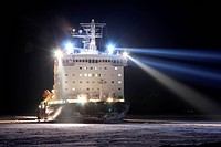 Atomic icebreaker ´Vaigach´ in river Enisey, Russian Federation