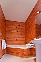 Bathroom interior. Nice warm interior of mountain lodge apartment. Fox Glacier Lodge, Fox Glacier, West Coast, South Island, New Zealand