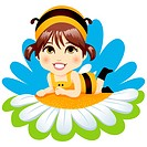 Cute little baby girl with bee costume resting lying down on top of a white daisy smiling happy