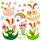 Set of colorful rabbit with springtime floral, butterfly and rainbow