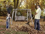 Boy and father with rakes in yard.