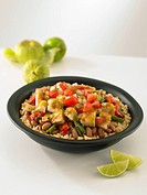 Chicken Bowl.A chicken bowl with beans, rice and vegetables