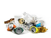 Recycling materials.Plastic bottles, cups and alluminum cans shot on white background. All items are aimed to be recycled. Studio shot, horizontal fra...
