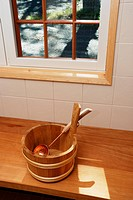 bathing wash_tub and a scoop in the sauna