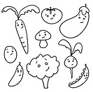 Cute doodle vegetables, vector illustration