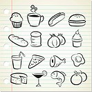 set of sketchy food icon