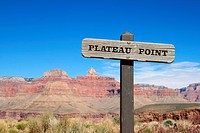 Plateau Point trail sign in the Grand Canyon
