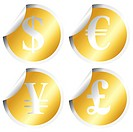 Golden stickers with money symbols