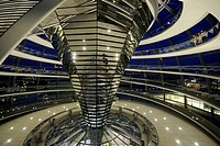Interior view, dome of the Reichstag building with visitors at night, seat of the Bundestag, German Parliament, Berlin-Tiergarten, Berlin-Mitte, Berli...