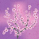 abstract floral illustration with pink flowers on cracked background, Image contains gradient mesh