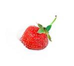 Fresh strawberry in white icecream