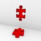 3d puzzle red white success wall piece business