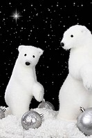 White bear on snow at Christmas night