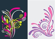 Beautiful floral abstract background in vibrant yellow, purple and pink_ Great for textures and backgrounds for your projects!