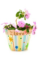Child´s hand made mother´s day gift painted flower pot and flower. I Love You painted on pot.