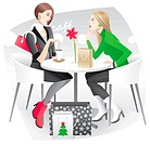 Two young women with shopping bags talking in the cafe