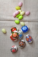 Painted Colorful Easter Eggs on linen fabric