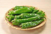 Basket of Manganji Green Peppers