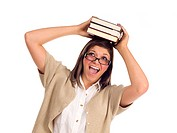 Pretty Smiling Ethnic Female Student Holding Books On Her Head Isolated on a White Background.