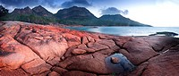 Panoramic view of the Hazards at sunset Honeymoon bay, Freycenet National Park