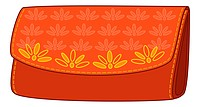 Red stylish leather wallet for money with a yellow floral pattern. Vector