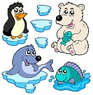 Arctic animals collection _ isolated illustration.