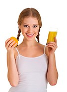 beautiful young woman full of life with orange juice isolated on white background