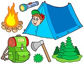 Camping collection on white background _ isolated illustration.